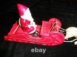 Celluloid SANTA CLAUS & SLEIGH 2 REINDEER Christmas JAPAN 1930's S. H. KRESS
