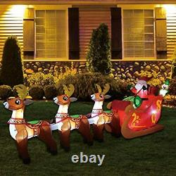 Christmas 12 Ft Inflatable Santa Reindeer Sled Outdoor Decoration LED Lighted