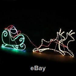 Christmas 170 cm 2 Reindeer Santa Sleigh Lights Silhouette Magic Winter Decor