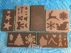 Christmas Accu Quilt Go! Dies Used Lot Tree, Santa Sleigh, Reindeer, Snowflake
