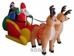 Christmas Air Blown Inflatable Reindeer Santa Claus Penguin on Sleigh Decoration
