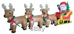 Christmas Air Blown LED Inflatable Yard Decoration Santa Claus Reindeer Sleigh