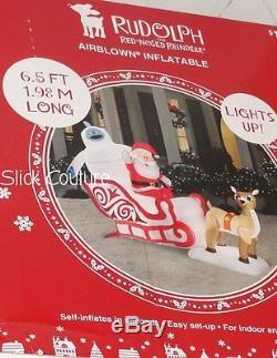 Christmas Airblown Inflatable Rudolph Reindeer Santa Bumble Sleigh Ride 6.5' NIB