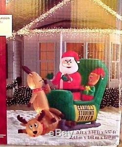 Christmas Elf Student Driver Santa Sleigh Reindeer 8' Airblown Inflatable Yard