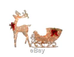Christmas Home Decoration Reindeer Santas Sleigh with LED Lights Outdoor Yard