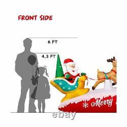 Christmas Inflatable Decoration- LED light Santa on Sleigh with Three Reindeer