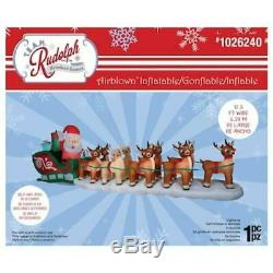 Christmas Inflatable Lighted Santa Sleigh Rudolph Reindeer Outdoor Yard Decor