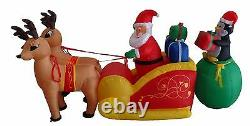 Christmas Inflatable Santa Claus Reindeer Moose Penguin Sleigh Yard Decoration