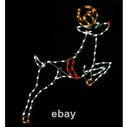 Christmas Light Display LED Santa Sleigh with Reindeer Outdoor Commercial Yard Art