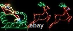Christmas Light Display LED Santa in Sleigh with Reindeer Outdoor Wireframe Yard