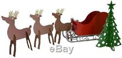 Christmas Outdoor Santa Sleigh And Amp 3 Reindeer Set Indoor Mantle Decoration