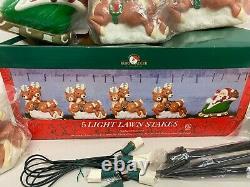 Christmas Pathway Lights 5 Lawn Stakes Santas Sleigh Reindeer Kurt Adler