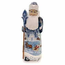 Christmas SANTA WITH REINDEER Wood Russian Sleigh 354
