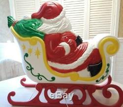 Christmas Santa Claus Sleigh WithOne Reindeer Blow Mold-Grand Venture-VTG-27Ht