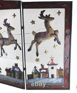 Christmas Santa Sleigh Reindeer 3D Metal Mesh 3 Panel Fireplace Screen Cover 32