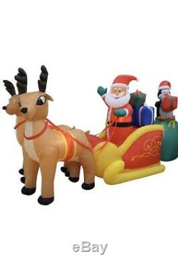 Christmas Santa Sleigh Reindeer Sled Airblown Inflatable Giant Sized14 Ft Huge
