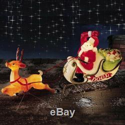 Christmas Santa Sleigh with Reindeer Blow Mold Xmas Yard Decor