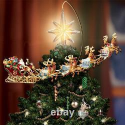 Christmas Tree Topper Animated Illuminated Thomas Kinkade Santa Sleigh Reindeer