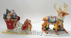 Christopher Radko Santa Sleigh & Reindeer 2 Piece Porcelain Figurine Christmas
