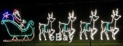 Commercial Santa Sleigh Reindeer Outdoor LED Lighted Decoration Steel Wireframe