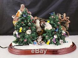 Danbury Mint Bulldog Santas Sleigh Light Up Reindeer With Box No Papers