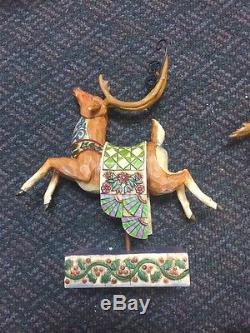 Dash Away Christmas Magic Reindeer Delivering Joy Santa Sleigh Jim Shore SET
