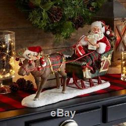 Department 56 Possible Dreams Christmas Santa in Sleigh Moose Reindeer Figurine
