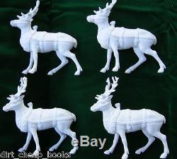 Dept 56 Winter Silhouette Santa's Sleigh & 4 Reindeer Set of 5 77950 Excel in Bx