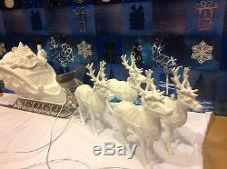 Dept 56 Winter Silhouette Santa's Sleigh & 4 Reindeer with box EUC MINT Set 77950