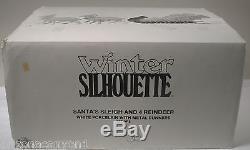 Dept 56 Winter Silhouette Santa's Sleigh & 77950 Reindeer Set of 10 Exc BX GIFTS