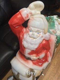 Empire Blow Mold Christmas Santa Sleigh Reindeers Light Display WORKS PickupOnly