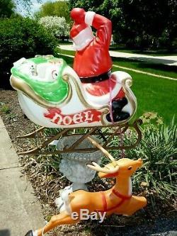 Empire Blow Mold Set Santa Sleigh & Flying Reindeer Lighted Plastic Decor