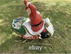Empire Christmas Santa in Sleigh LARGE vtg blow mold 2 32 Inch Reindeer