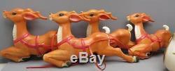 Empire Santa Sleigh 4 Reindeer Blowmold Christmas Yard Rooftop Display