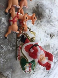 Empire Vintage Santa Sleigh With 9 Reindeer Blow Mold Set RARE