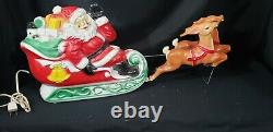 Empire vintage plastic Santa sleigh and reindeer Blow Mold-1970 RARE