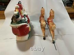 Empire vintage plastic santa sleigh and reindeer Blow Mold-1970