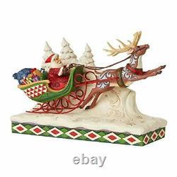 Enesco Jim Shore Heartwood Creek Santa on Sleigh with Reindeer Figurine 6006635
