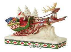 Enesco Jim Shore Heartwood Creek Santa on Sleigh with Reindeer NIB # 6006635