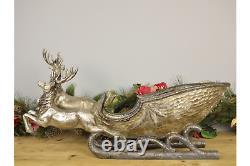 Ex Large Gold Reindeer & Sleigh Santas Helper Luxury Xmas Decoration 58x35cm