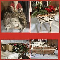FAO Schwarz German Clockwork ReindeerSanta SleighAntique Christmas Nodder
