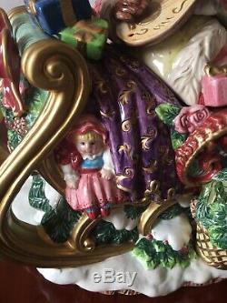Fitz & Floyd Christmas Set Wreath Santa Sleigh Tureen & 2 Reindeer Candle