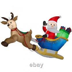Flying Santa Sleigh Inflatable Reindeer Lighted Outdoor Decor Hanging Display