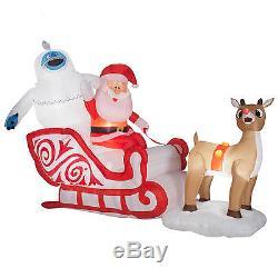 GEMMY 6.5 FT Bumble Rudolph Reindeer Santa Sleigh Christmas Airblown Inflatable