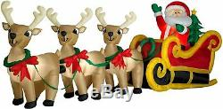 GIANT 16' FT LONG SANTA SLEIGH with REINDEER INFLATABLE BY GEMMY USED
