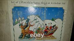 GRANDEUR NOEL 2003 Porcelain Red Santa Sleigh & Reindeer Set JC Penney 13 w box