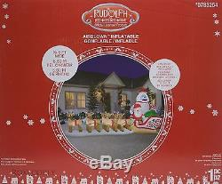 Gemmy 16.5 Ft Wide Rudolph the Red Nosed Reindeer Santa Bumble Sleigh Inflatable