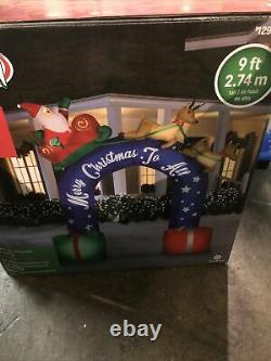Gemmy 9FT Tall Inflatable Christmas Archway Sleigh Ride with Santa and Reindeers