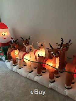 Gemmy Christmas Airblown Inflatable Colossal Rudolph Sleigh Santa Reindeer