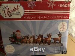 Gemmy Christmas Rudolph 17.5 ft Wide Santa Sleigh and Reindeer Inflatable